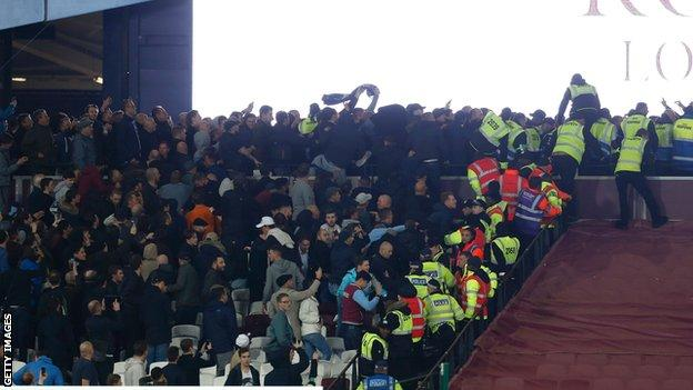 Trouble between fans as West Ham beat Chelsea