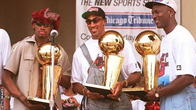 Dennis Rodman, Scottie Pippen and Michael Jordan