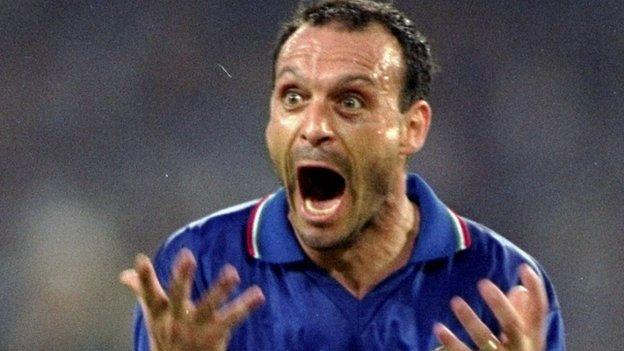 Image result for schillaci goal celebration