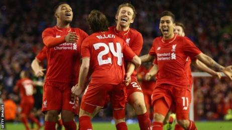 Joe Allen and Liverpool team-mates