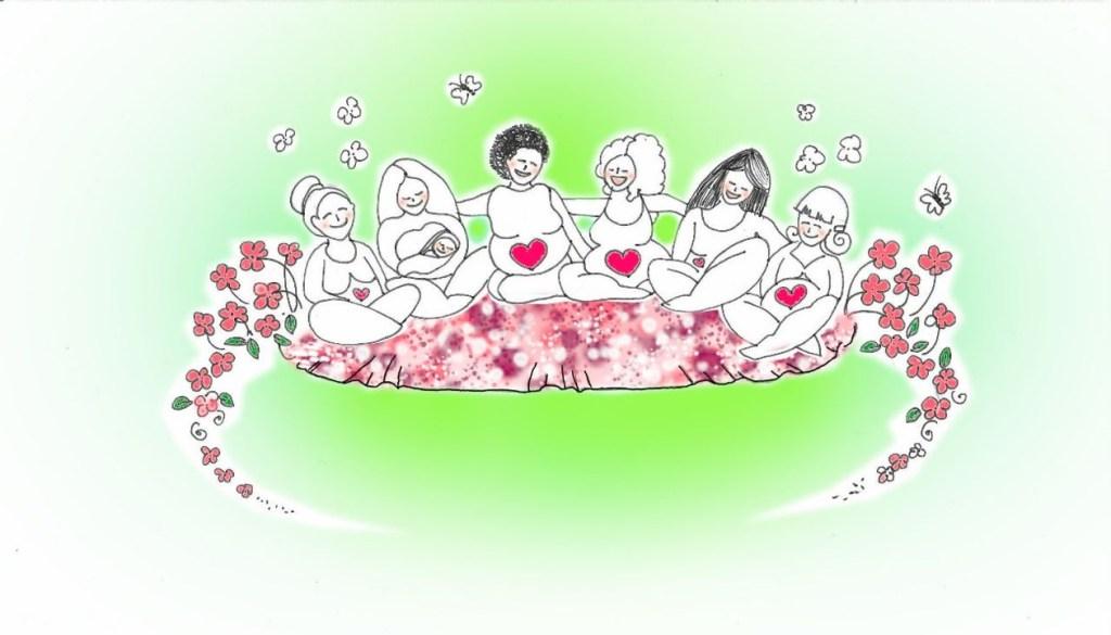 Geburtsurlaub: Ein Kreis von Menschen, die das Leben willkommen heißen.