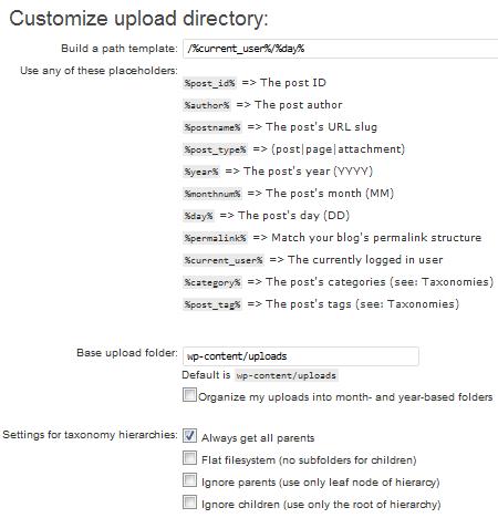 Как загружать изображения в папки, отдельные для каждого поста - код и плагин Custom Upload Dir