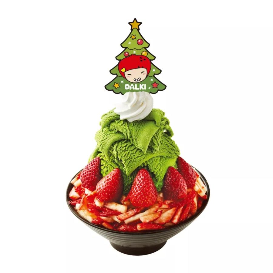 抹茶いちごソルビンクリスマスバージョンが数量限定で日本初登場!ふわふわのミルクかき氷にたっぷりの苺!