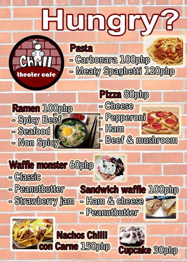 Food menu iChill theater cafe