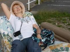 Olwen relaxing in her Japanese hat - in Tokoname