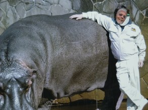 Stephen with a hippo!