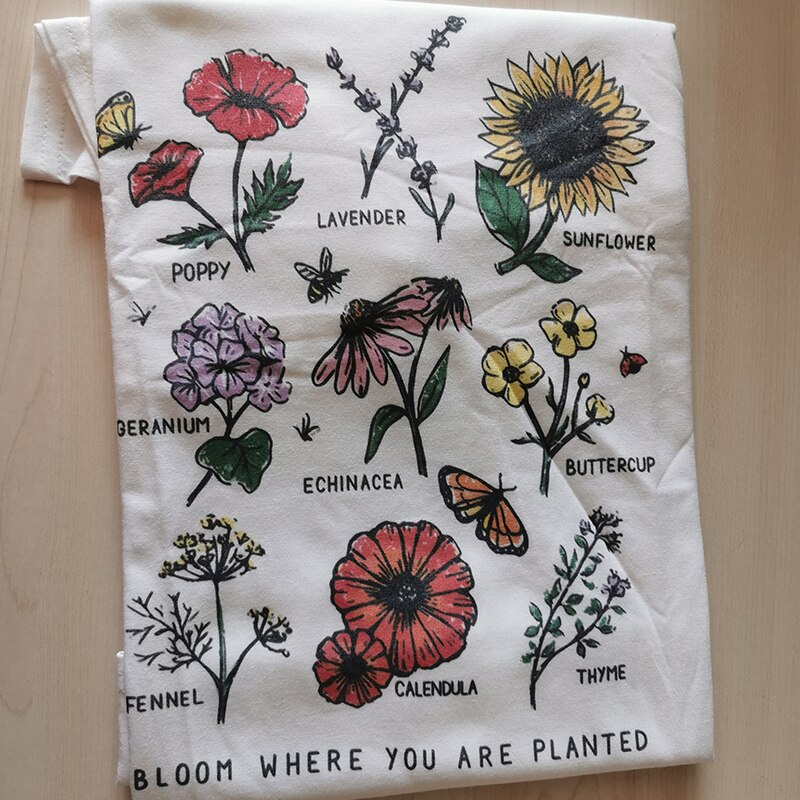 Bloom Where You Are Planted Botanical Flower Print Women T Shirt Cotton Sunflowers Oversized Tops Colorful Graphic Tee Girls Tee Shop