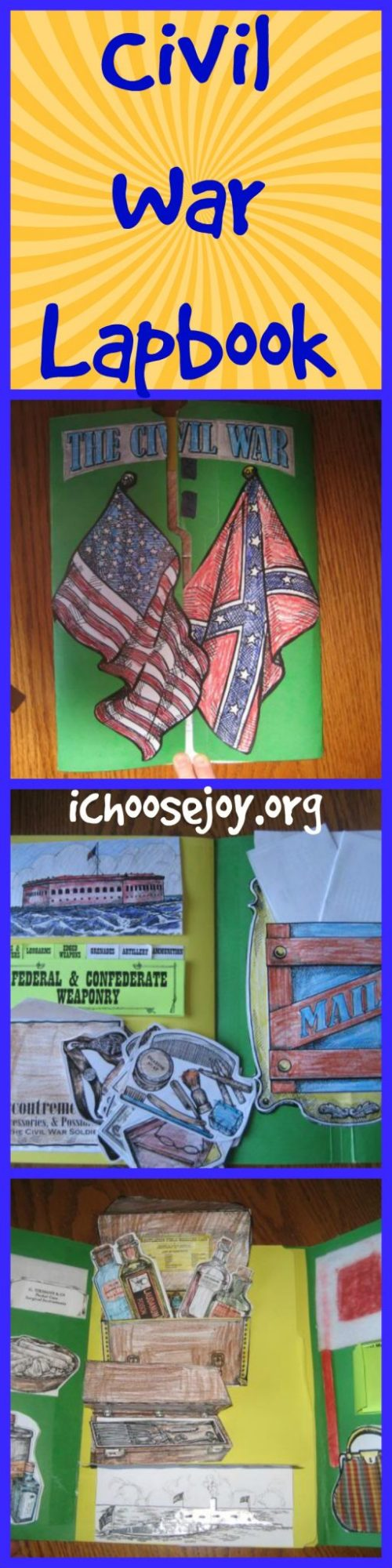 School projects from last year, including Civil War lapbook