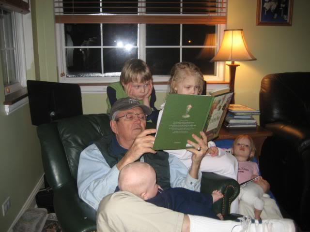 Wonderful read-aloud time with Grandpa, homeschool read-alouds