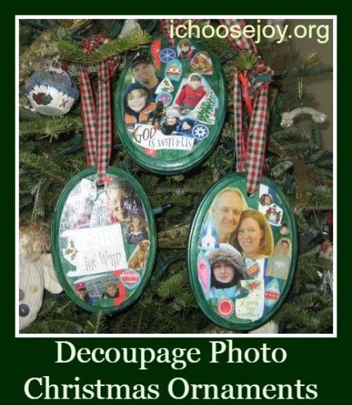 Decoupage Photo Christmas Ornaments