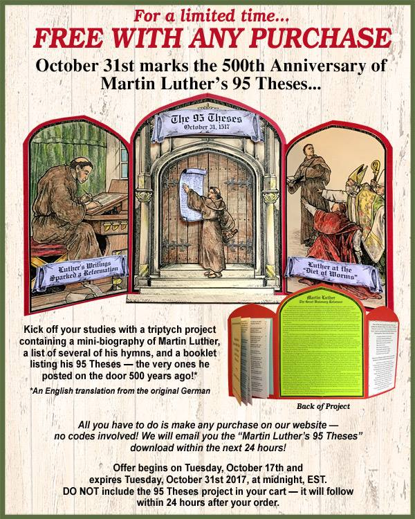 Get this special deal for Reformation Day this year, from Homeschool in the Woods