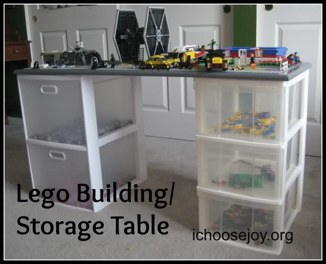 Lego building and storage table