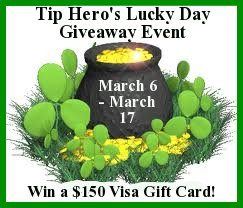 Giveaway of a $150 Visa Gift Card (sponsored by Tip Hero)