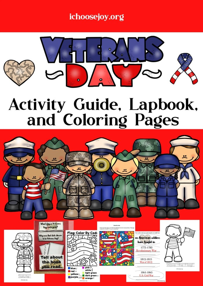 Veterans Day Activity Guide, Lapbook, and Coloring Pages