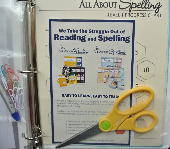 Set up Notebook for All About Reading and Spelling 009