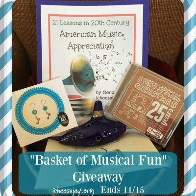 """Basket of Musical Fun"" Giveaway: Ocarina set, CD, Earrings, & Music Curriculum ($75+ Value!)"