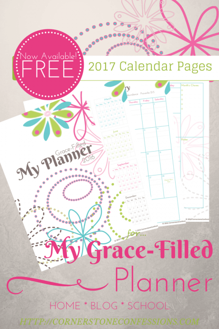 Free 2017 Cornerstone Confessions Calendar Pages available now!
