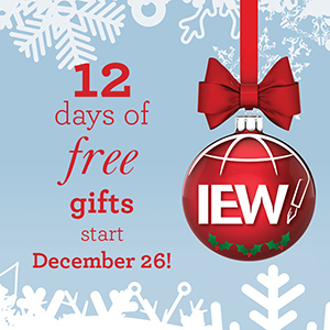 Get 12 Free Gifts from IEW 12 Days of Christmas Gifts
