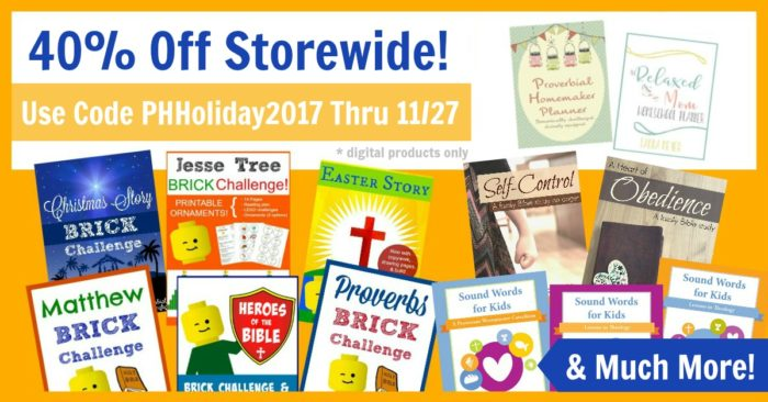 Proverbial Homemaker Black Friday 2017 sale. 40% off everything!