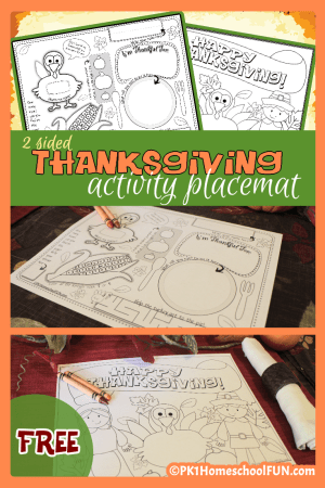 Thanksgiving Activity Placemat, activities for kids to do at Thanksgiving
