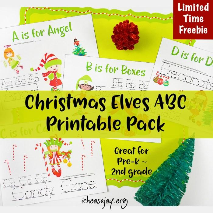 Christmas Elves ABC Printable Pack great for Pre-K thru 2nd Grade #printable #printablepack #preschool #elementary #homeschoolprintables