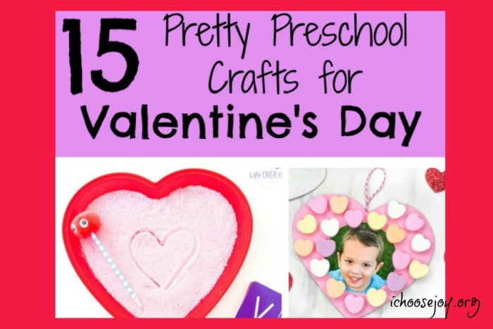 Pick one or more of these 15 pretty preschool crafts for Valentine's Day to do with your kids. #preschool #preschoolcrafts #valentinesday #craftsforkids #ichoosejoyblog