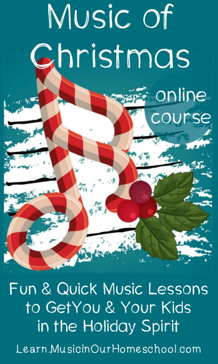 Music of Christmas is a fun and easy-to-use Christmas Music lesson online course, perfect for getting you and your kids in the holiday spirit! #christmas #christmasmusic #musiclessonsforkids #musicinourhomeschool