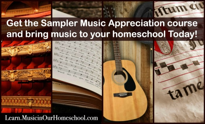 """Have some fun taking a mini-music appreciation course with these 10 lessons: Instruments of the Middle Ages, Handel, Patriotic Music, Blues and Jazz, Aaron Copland, Gilbert & Sullivan, Dvorak and Henry T. Burleigh, """"James and the Giant Peach"""" the Musical, Music for Veteran's Day, and Music for Thanksgiving. You'll even find 6 bonus lessons from: State Songs of the 50 U.S. States, 10 Weeks of Shakespeare, Great Hymns of the Faith, 100 Delightful Classical Music Pieces mini-course, Music for Christmas, and Music Playlists for Homemaking. #musicinourhomeschool #homeschoolmusic #musiceducation #onlinemusiccourse"""