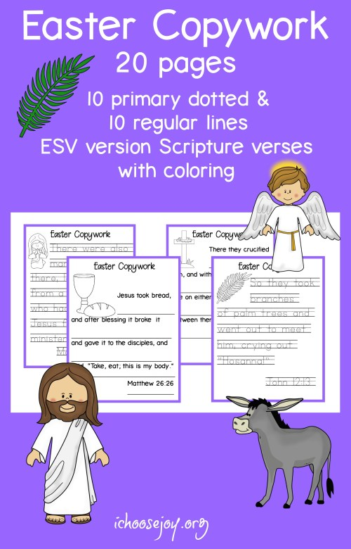 20 pages of Easter copywork, Scripture in ESV version. 10 pages primary dotted letters and 10 pages regular lines. #easter #copywork #scripture #scripturecopywork #homeschool