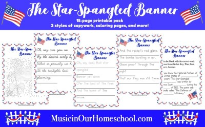 Use this printable pack when teaching America's National Anthem to your students. There are 15 pages in all. Find copywork in three styles (regular, dotted, and cursive) of the lyrics of the first verse, two coloring pages, and a fill-in-the-blank sheet. #patrioticmusiclesson #starspangledbanner #elementarymusic #musicinourhomeschool