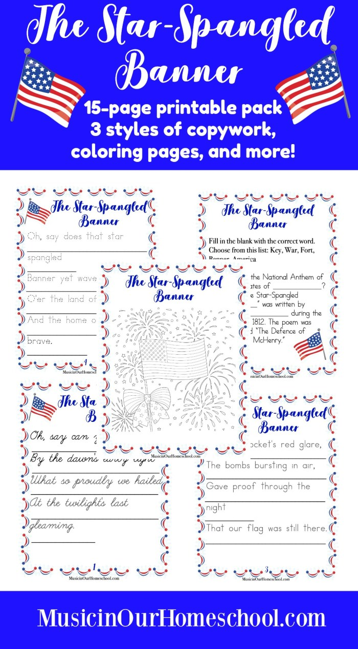Use this printable pack when teaching America's National Anthem to your students. There are 15 pages in all. Find copywork in three styles (regular, dotted, and cursive) of the lyrics of the first verse, two coloring pages, and a fill-in-the-blank sheet. This is part of Fun Kid Activities for the Fourth of July. #patrioticmusiclesson #starspangledbanner #elementarymusic #musicinourhomeschool