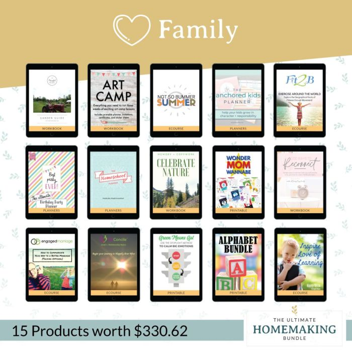 Family, Kids, and Homeschooling resources in the Ultimate Homemaking Bundle 2020