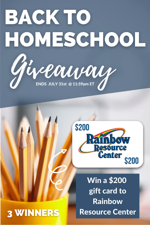 Back to Homeschool Giveaway Rainbow Resource gift certificate