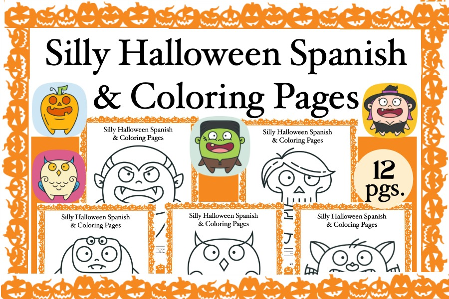 Silly Halloween Spanish and Coloring Pages