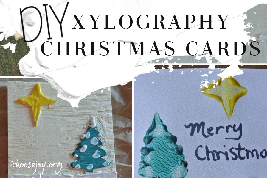 X is for Xylography DIY Christmas cards with wood stencil stamping