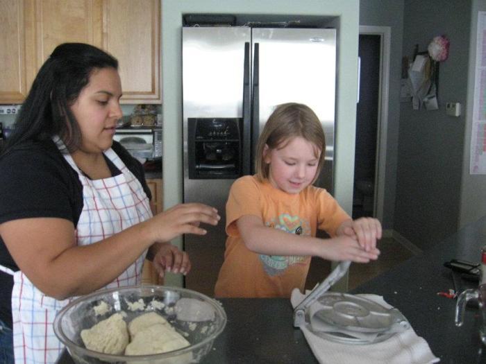 Making tortillas while studying Josefina in American Girl Book Club.