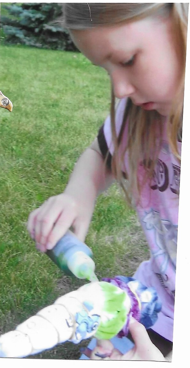 Making tie dye while studying Julie in American Girl Book Club.