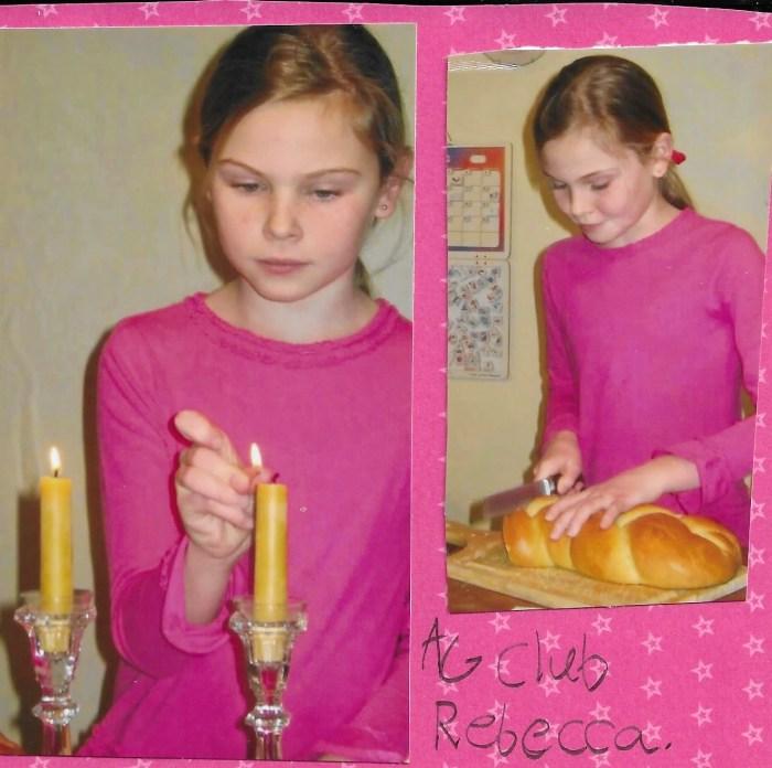 Shabbat dinner while studying Rebecca in American Girl Book Club.
