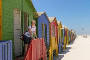 Südafrika South Africa Kap Halbinsel Muizenberg Strand Edwardian Beachhouses bunt