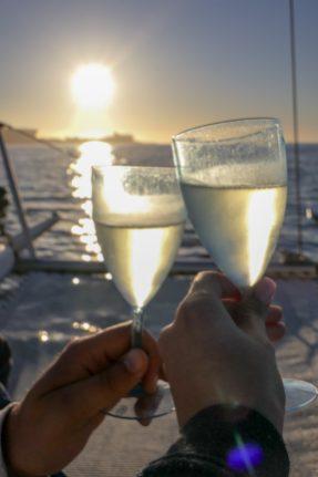 Südafrika Kapstadt Cape Town Victoria 6 Alfred Waterfront Sunset Cruise Sonnenuntergang Bootsfahrt Katamaran Cheers Sekt