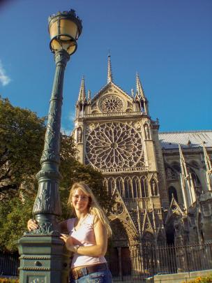 Frankreich Paris Notre Dame de Paris Kathedrale Gotik Kirchenschiff Südfassade Fenster Rosette Laterne