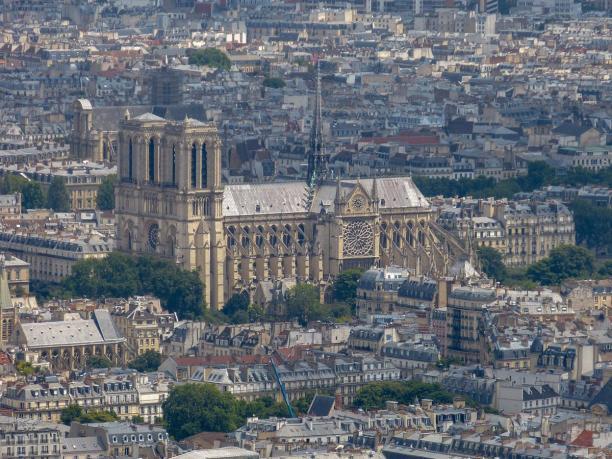 Frankreich Paris Tour Montparnasse Ausblick Notre Dame de Paris Kathedrale Gotik Vogelperspektive