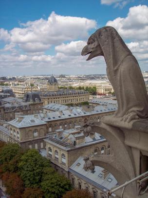 Frankreich Paris Notre Dame de Paris Kathedrale Glockenturm Turm Turmbesteigung Galerie Gargouille Gargoyle Wasserspeier Ausblick Hotel de Dieu