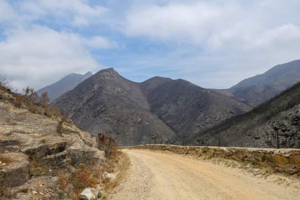 Afrika Südafrika South Africa Montagu Pass Outeniqua Berge Buschfeuer Straße Schotterstraße
