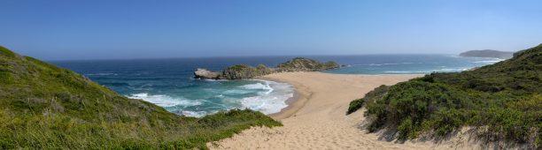 Südafrika South Africa Garden Route Kap Plettenberg Bay Robberg Nature Reserve Naturreservat Halbinsel Wanderung Whitsand Düne Tombolo Strand Panorama