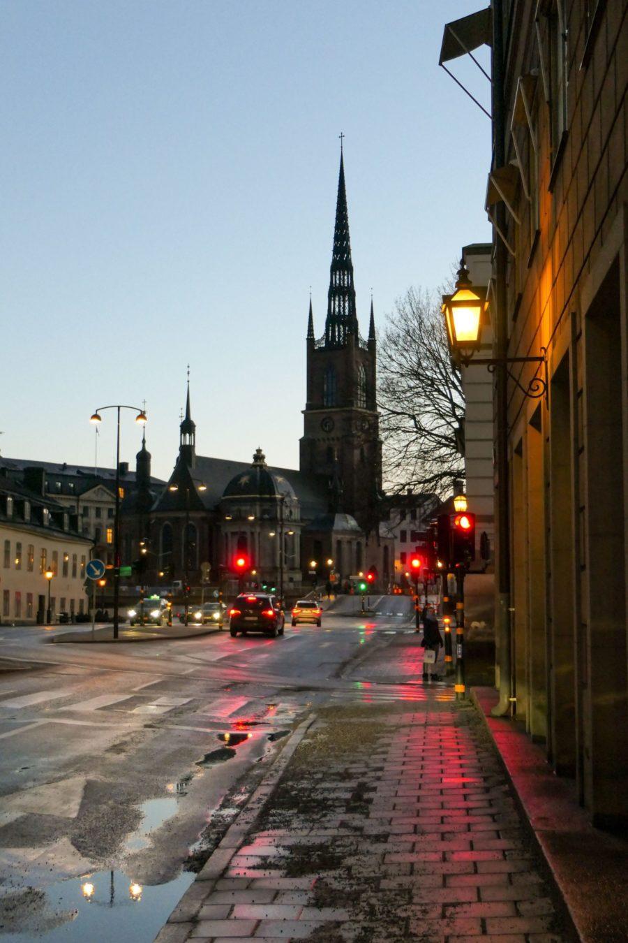 Stockholm Schweden Riddardsholmen Kirche Abend