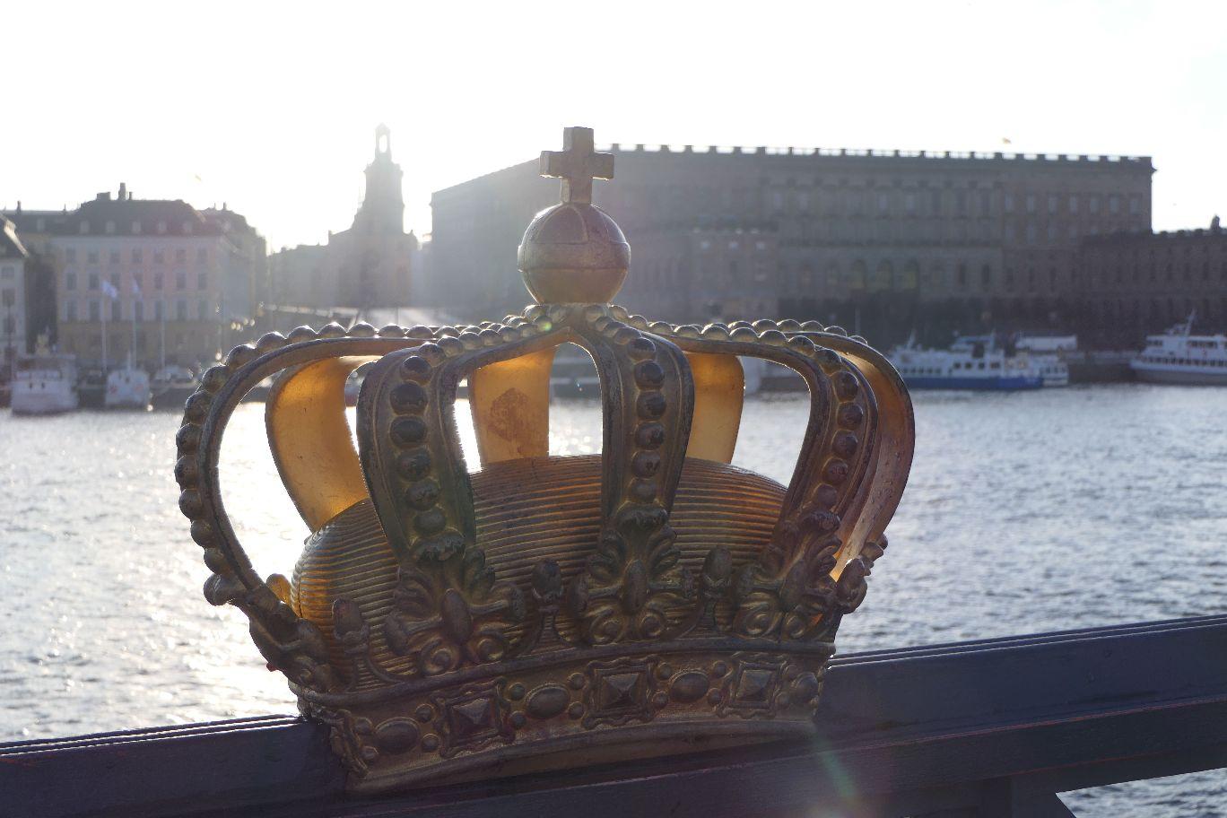 Stockholm Schweden Skeppsholmen Skeppsholmsbron Goldene Krone Ausblick