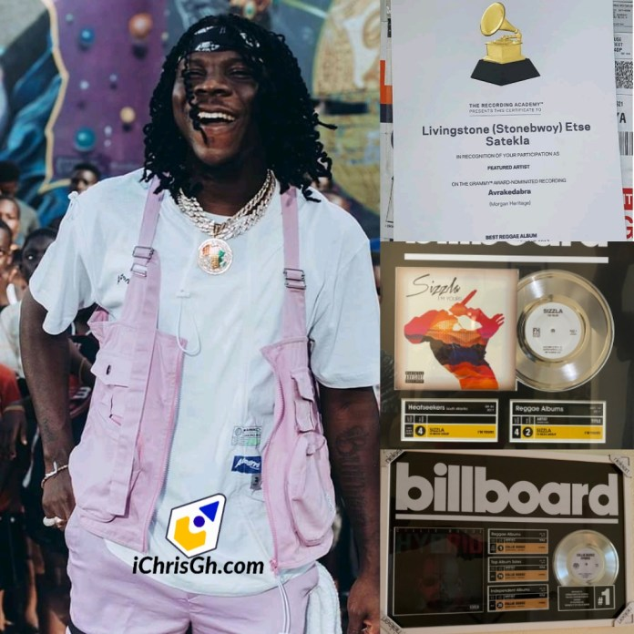Stonebwoy is now the only Ghanaian artiste with 3 certificates