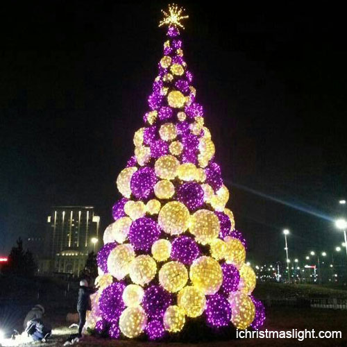 Commercial white and purple ball Christmas tree