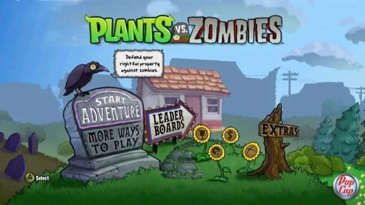 Pflanzen gegen Zombies - Hauptmenü